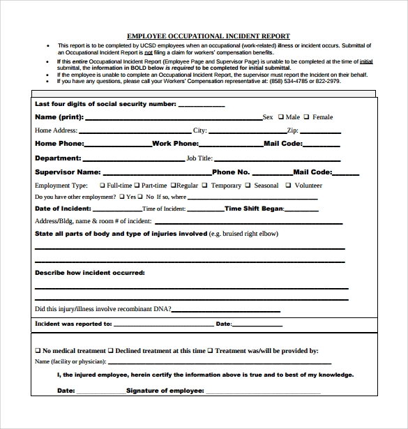 Printable Employee Incident Report Free