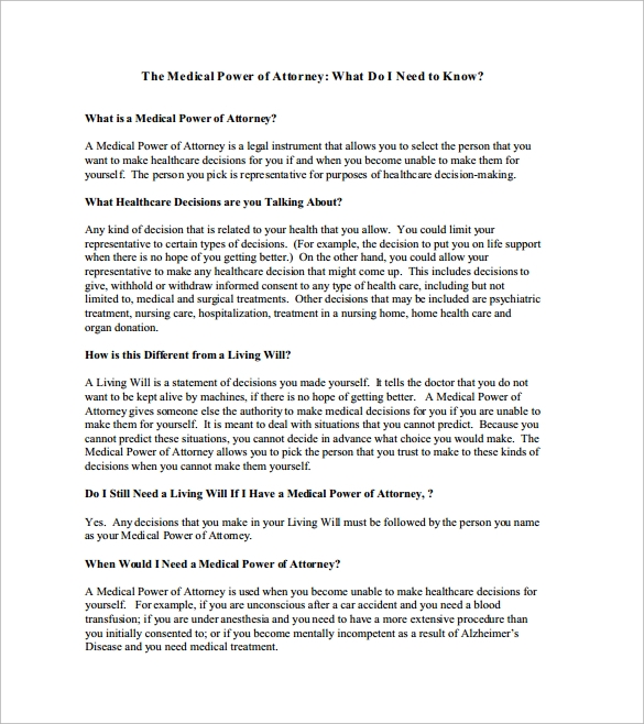 Medical Power Point Of Attorney Form In PDF Format
