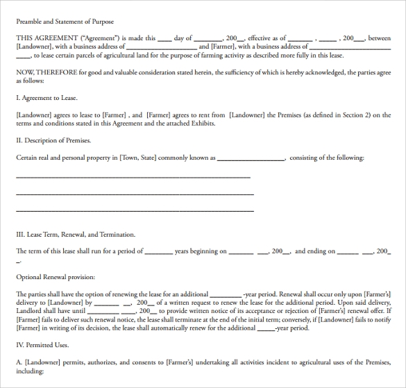 lease agreement plan example