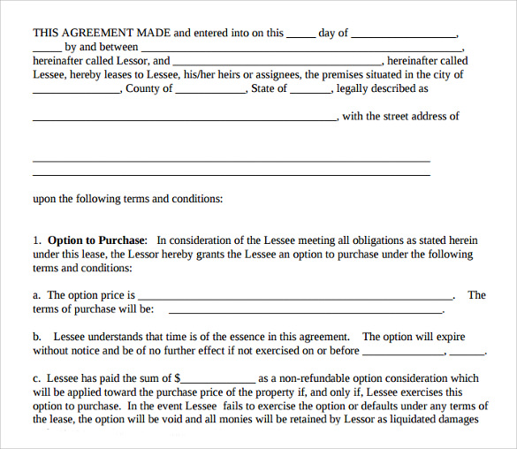 purchase residential agreement