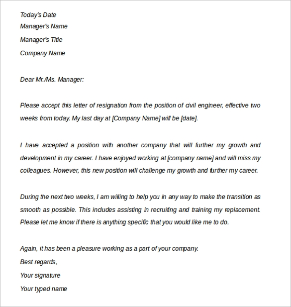 Engineering Resignation Letter Notice Of 2 Weeks
