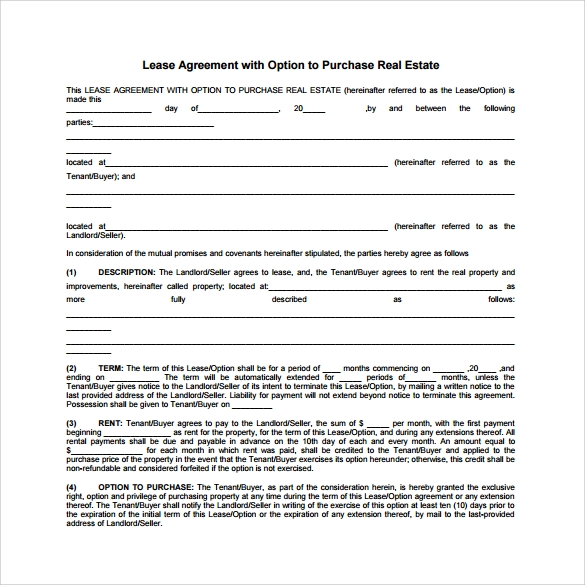 10 sample lease purchase agreement templates sample for Rent to buy contract template