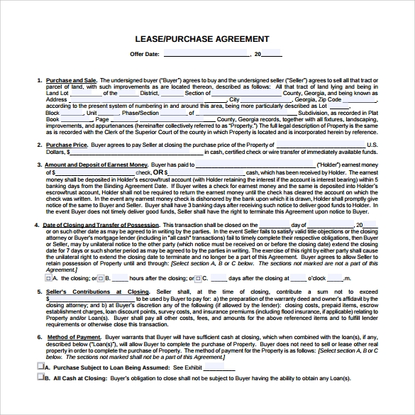9 lease purchase agreements free sample example format