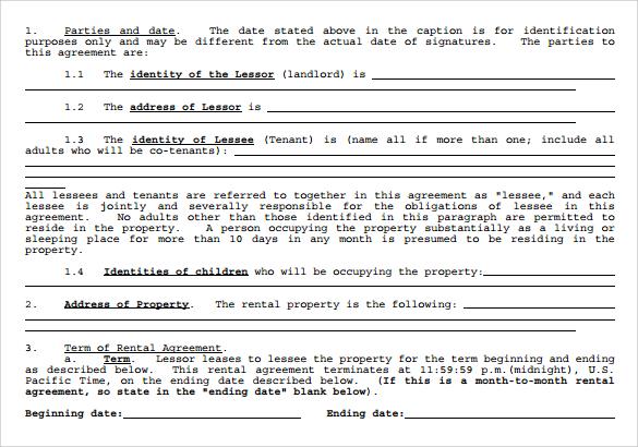 standard rental agreement