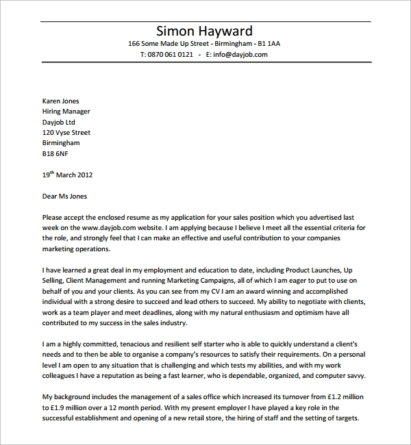 sales and marketing professional cover letter example cover letter