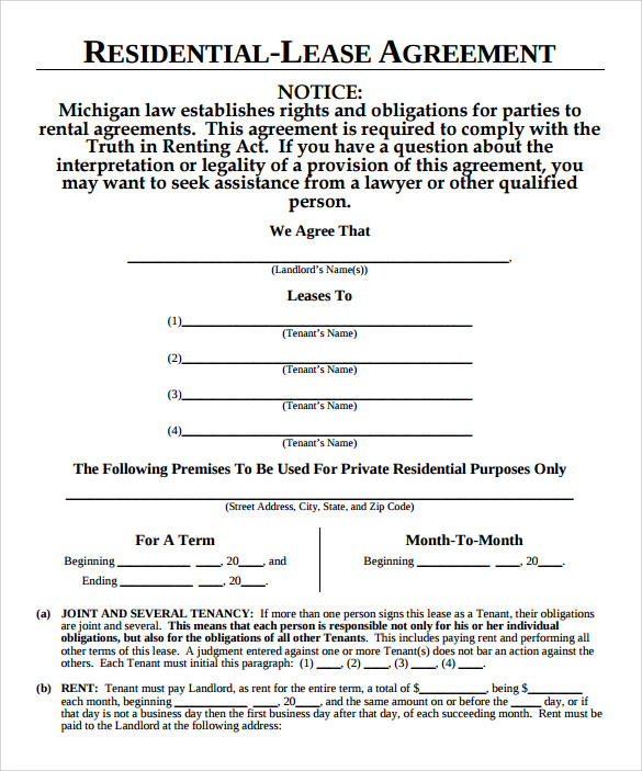 8 Month To Month Lease Agreement Template Download