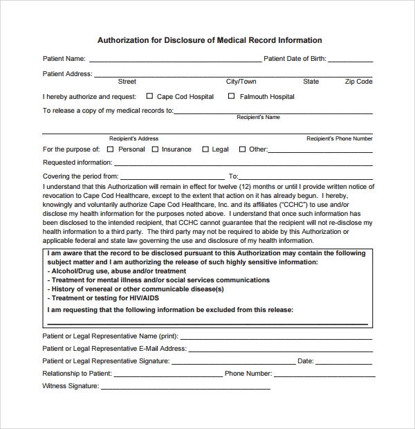 Sample Medical Record Request Forms  Download Free Documents In Pdf