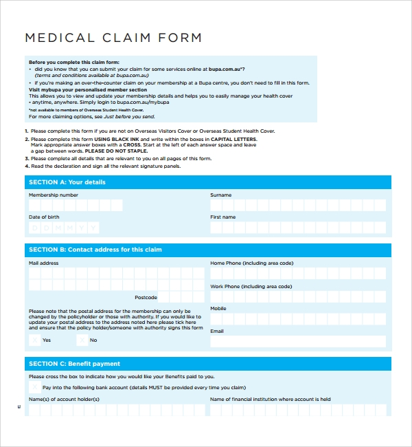 sample medical claim form