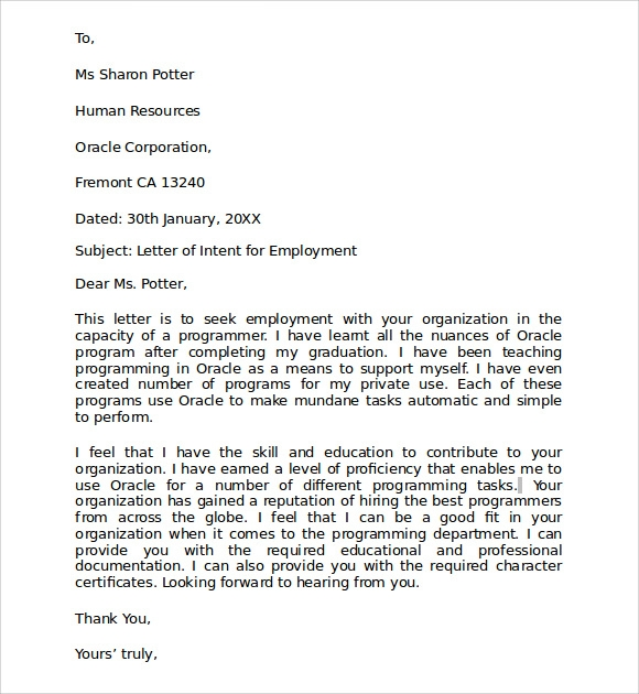Sample Letter Of Intent For Employment   Documents In Pdf  Word