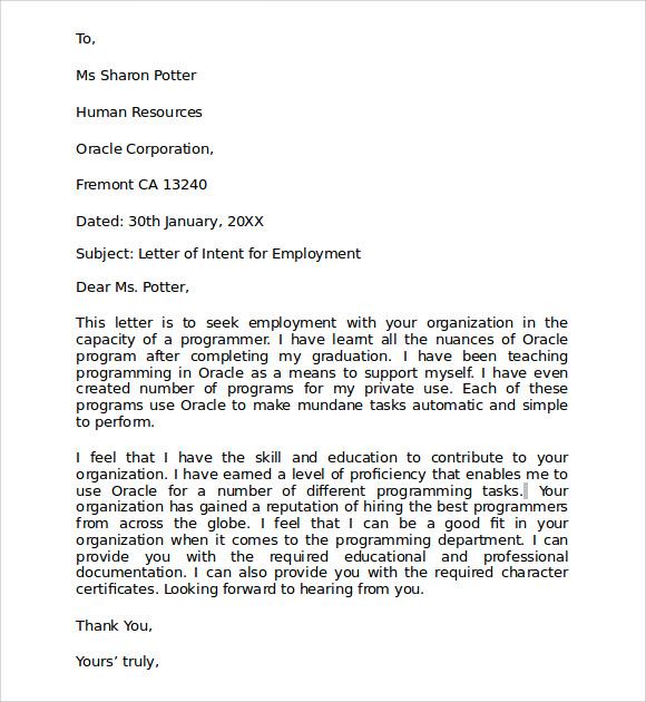 Teacher Letter of intent