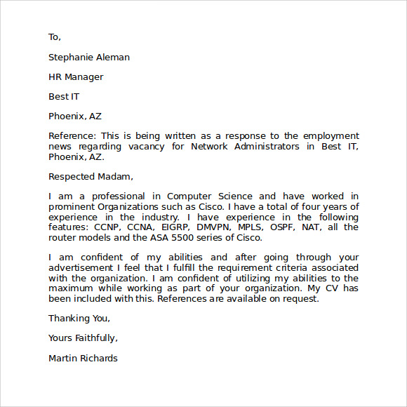 Letter Of Intent For Employment Template  Loi Sample Letter