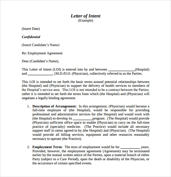 Sample Letter of Intent for Employment 9 Documents in PDF Word – Physician Employment Agreement