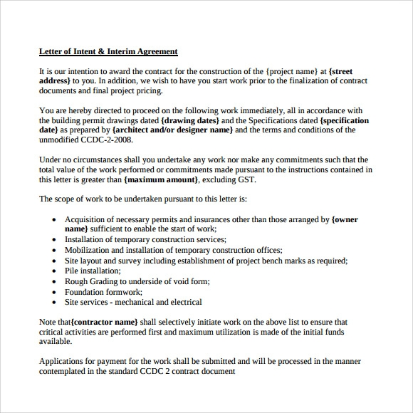 Letter Of Intent Architecture Job