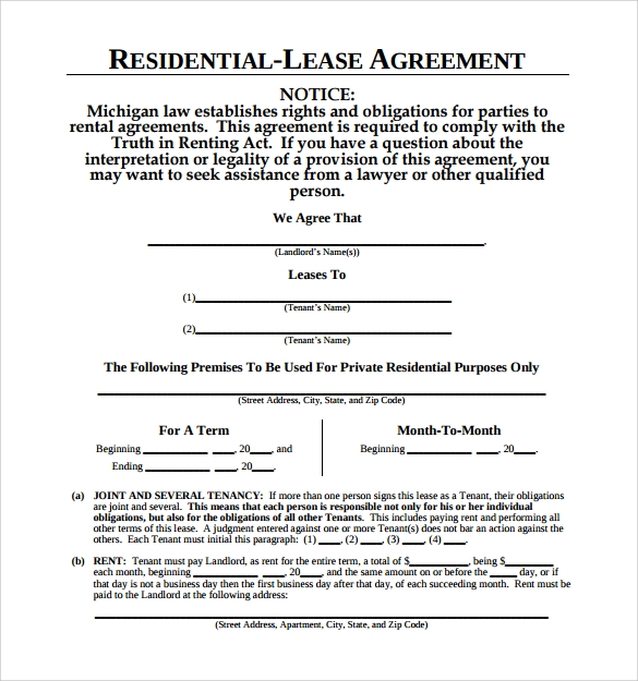 residential lease agreement for free
