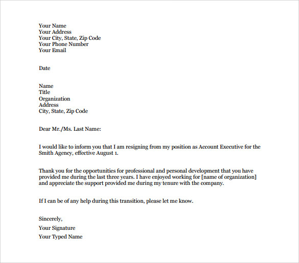 Example of Resignation Letter  Simple Resignation Letter