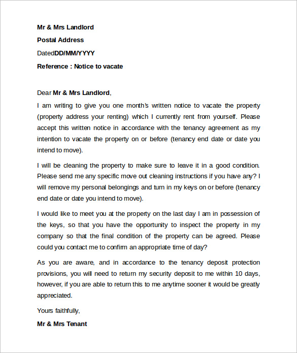 notice letter to vacate