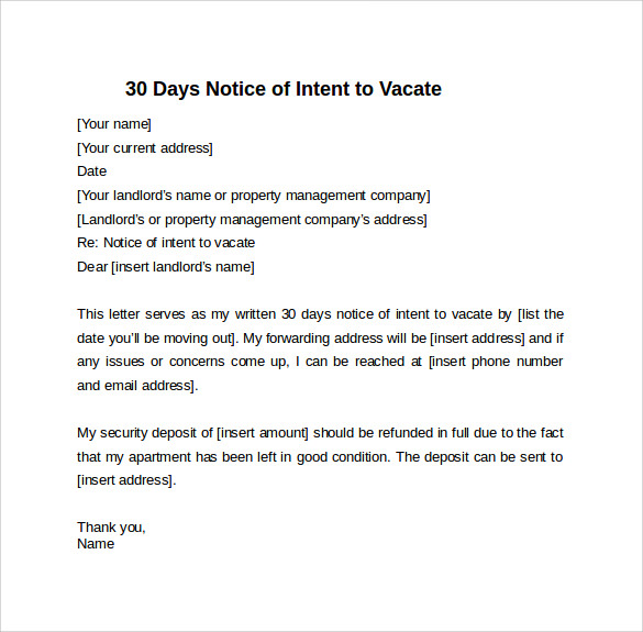 30 days notice letter of intent to vacate details file format
