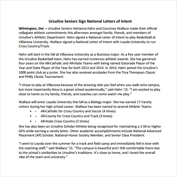 Sample National Letter Of Intent 9 Free Documents In