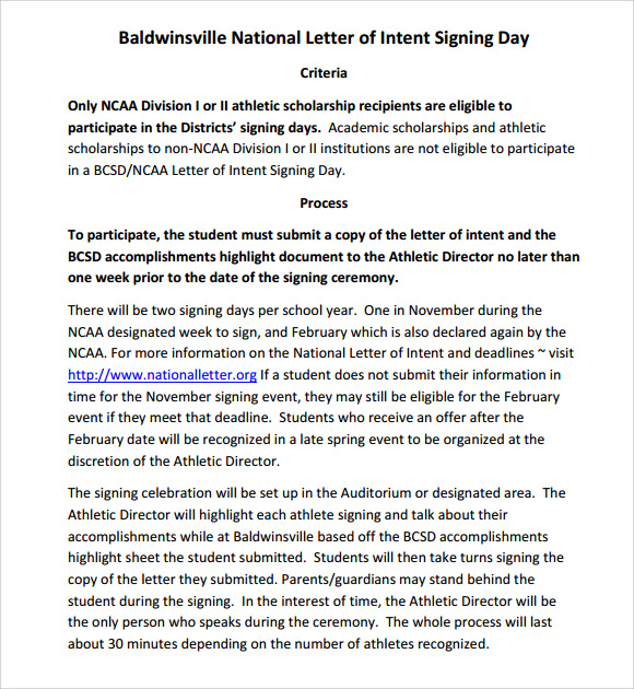 ncaa letter of intent national letter of intent 8 free documents in 23755 | NCAA National Letter of Intent Signees