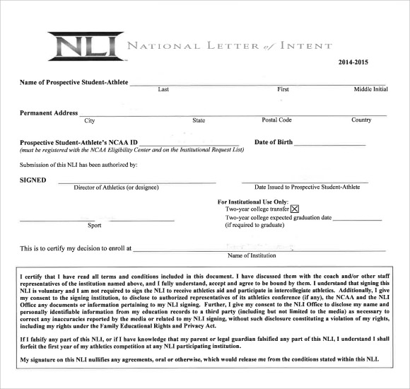 Sample National Letter Of Intent   Free Documents In Pdf Word