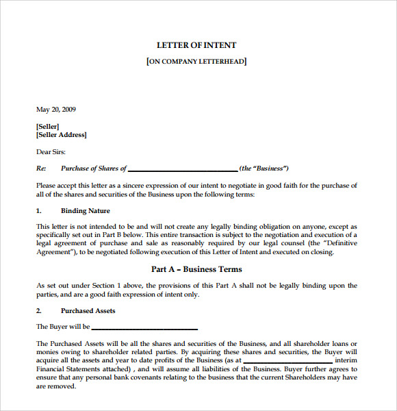 Sale Of Business Letter Of Intent  Good Faith Letter