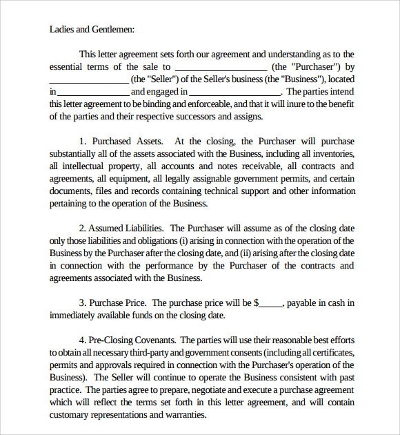 letter of intent to purchase business 8 download free