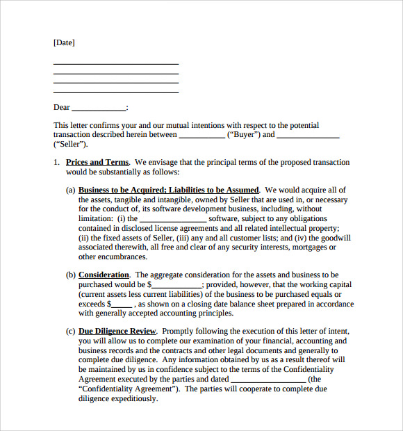 letter of intent to purchase assets