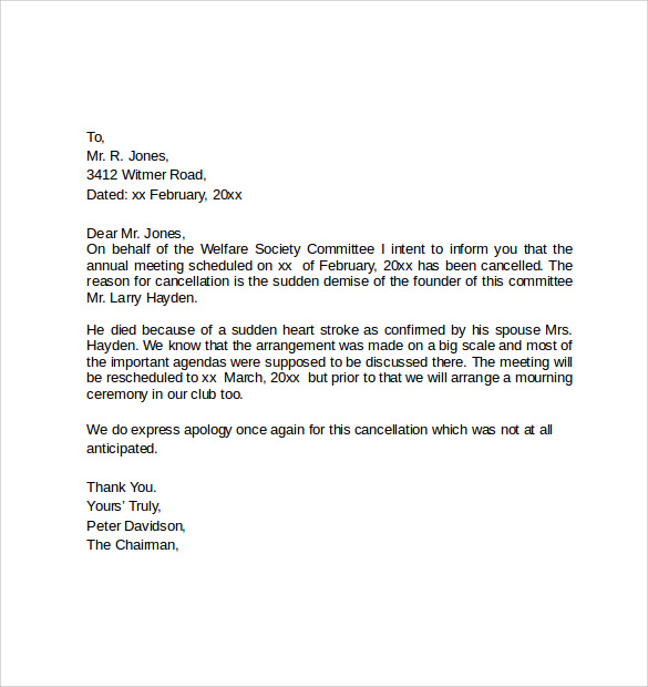 Event Notice Of Cancellation Letter