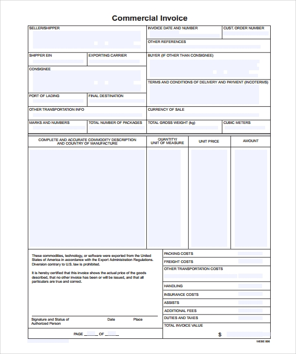 commercial indesign invoice