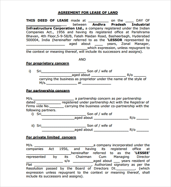 Basic Land Lease Agreement Template