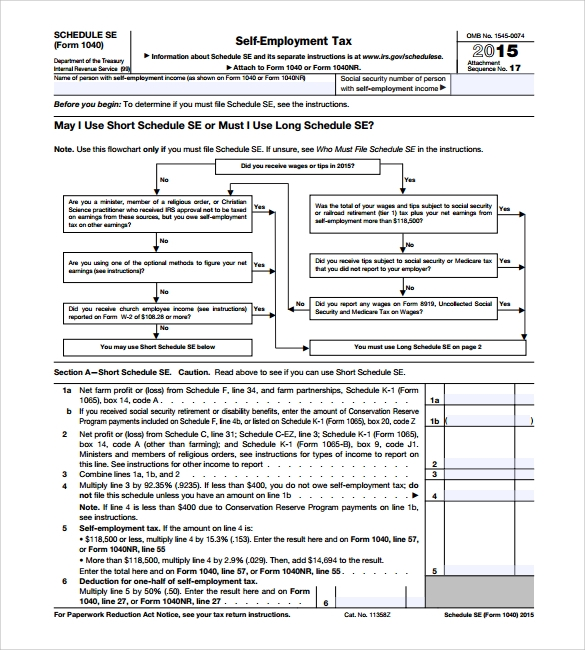 Sample Self Employment Tax Form   Free Documents In Pdf