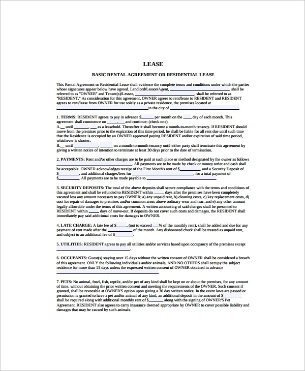 Residential Lease Agreement Template  Printable Rental Agreement Template