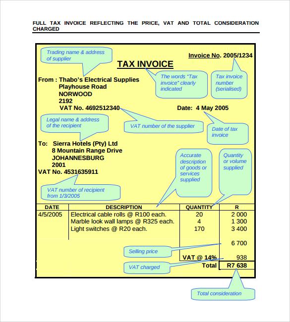 professional tac invoice