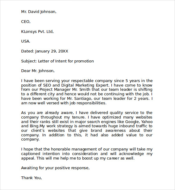 letter of intent for a job within the same company 10  Sample Letter of Intent for Promotion Templates | Sample Templates