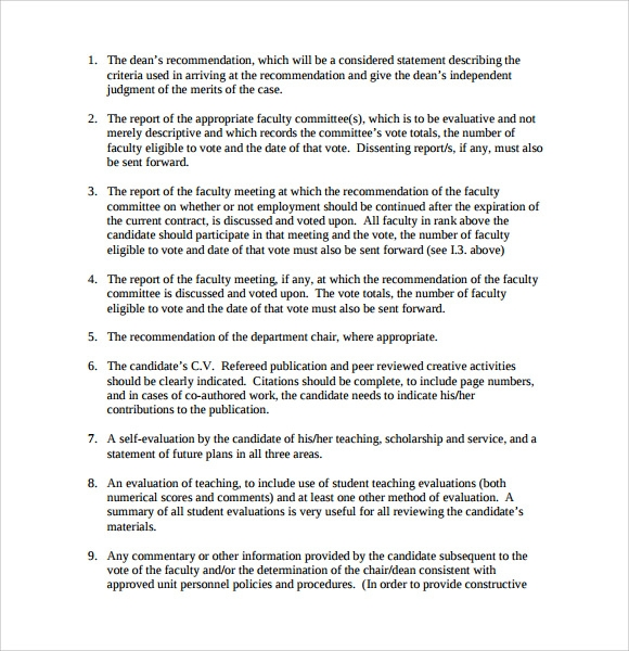 Promotion And Tenure Cover Letter Sample
