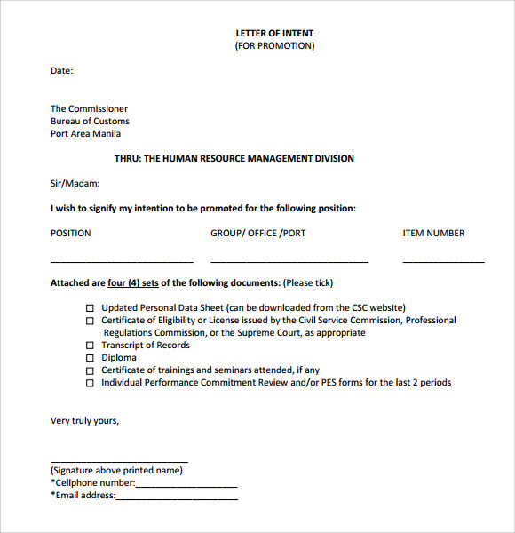 Sample Letter of Intent for Promotion 9 Documents in Word PDF
