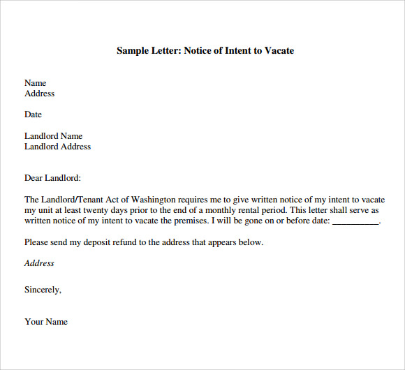 7 Letter Of Intent To Vacate Templates Download For Free