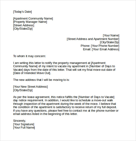 Letter of intent to vacate 7 download free documents in pdf word notice to vacate sample letter spiritdancerdesigns Gallery