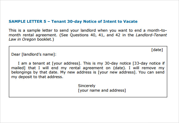 sample letter of intent to vacate