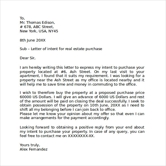 Letter Of Intent Real Estate Lease Commercial. Intent Property ...