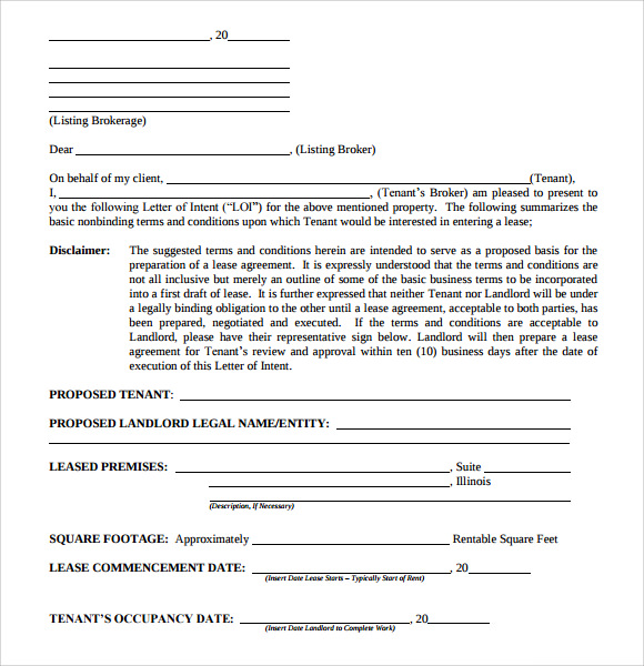 letter of intent real estate 9 download free documents