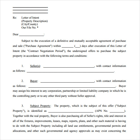 letter of intent form real estate
