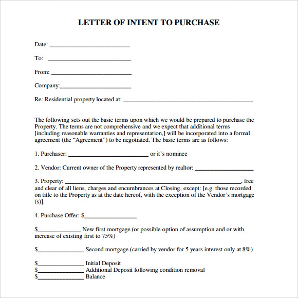 Letter Of Intent Real Estate   Download Free Documents In Pdf  Word