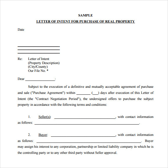 Sample Letter Of Intent To Purchase   Documents In Pdf Word