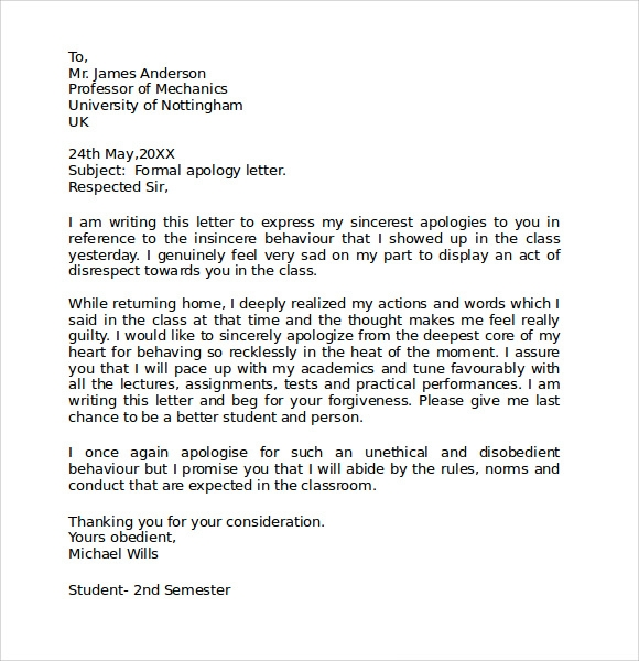 formal apology letter click for details formal apology letter sample