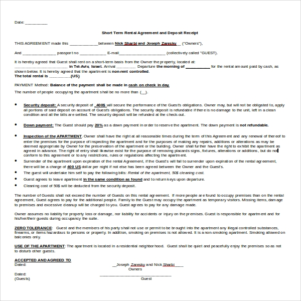 Sample Vacation Rental Agreement 7 Free Documents In PDF Word – Short Term Rental Contract Form