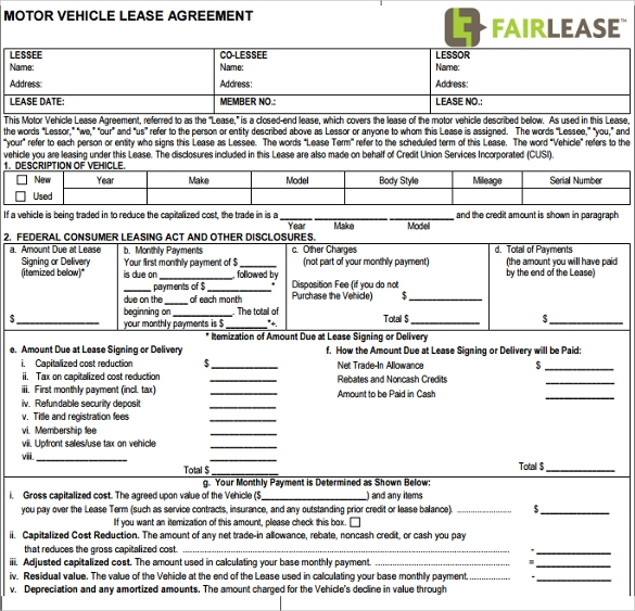 12 vehicle lease agreement templates samples examples