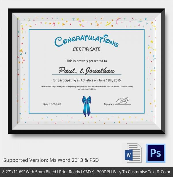 simple participant congratulations certficate