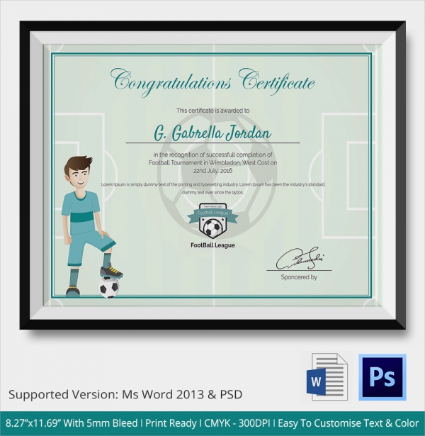 Sample Congratulations Certificate 22 Documents In PDF Word PSD – Sport Certificate Templates for Word