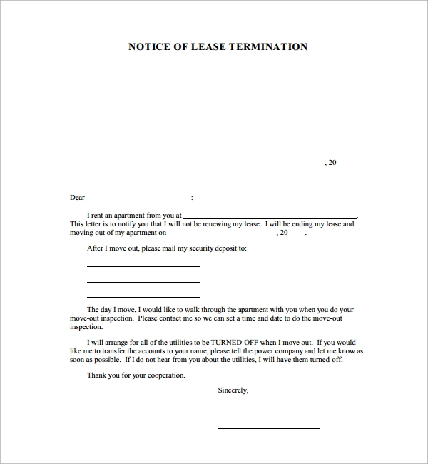 notice of cancellation letter for lease termination - Notice Of Lease Termination